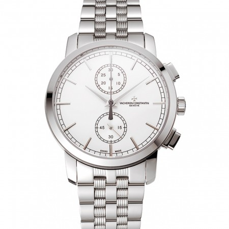 Swiss Vacheron Constantin Patrimony Traditionnelle Chronograph White Dial Stainless Steel Case And Bracelet 1453755