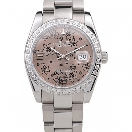 Rolex Datejust Polished Stainless Steel Brown Flowers Dial Diamond Plated