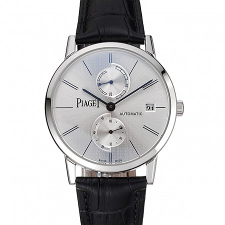Piaget Altiplano Date Silver Dial Stainless Steel Case Black Leather Strap