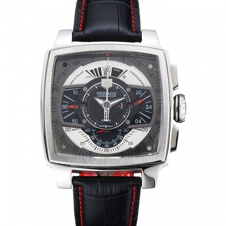 Tag Heuer Monaco Black-Green Perforated Leather Strap Black Dial 80308