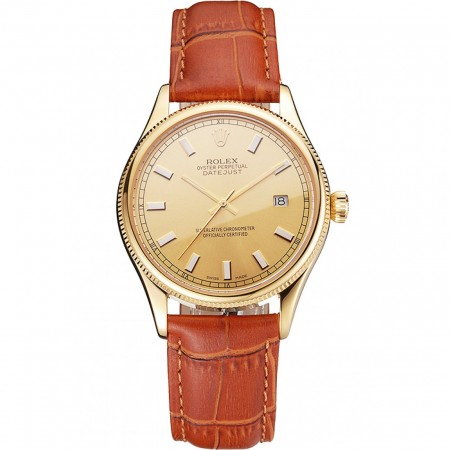 Swiss Rolex Datejust Gold Dial Gold Case Light Brown Leather Strap