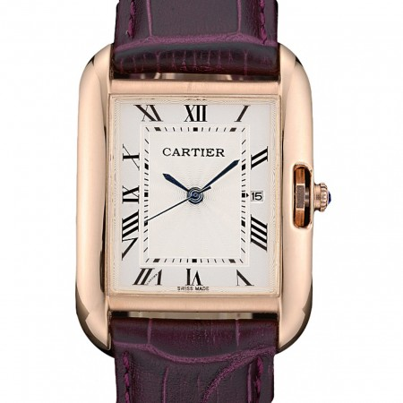 Cartier Tank Anglaise 30mm White Dial Gold Case Purple Leather Bracelet