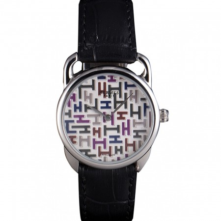 Hermes Classic Croco Leather Strap Multicolor Patterned Logo Dial 801407