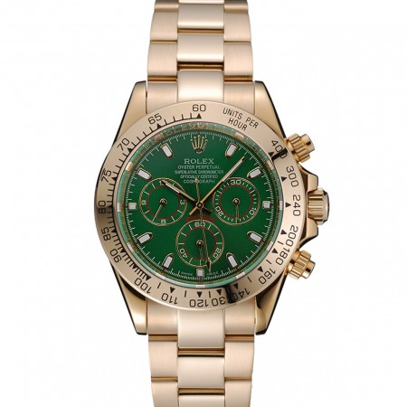Rolex Cosmograph Daytona Green Dial Gold Case And Bracelet 1454244