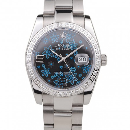 Rolex Datejust Polished Stainless Steel Dark Blue Flowers Dial Diamond Plated