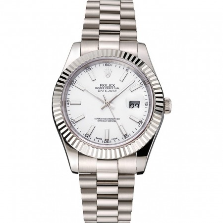 Swiss Rolex Datejust White Dial Stainless Steel Case And Bracelet