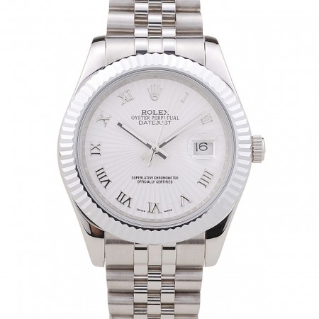 Rolex Datejust White Radial Dial Ribbed Bezel 7478