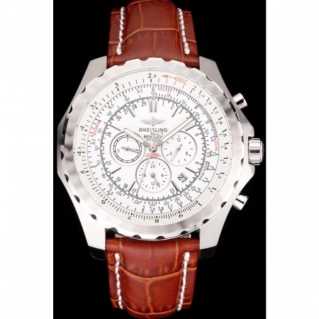 Breitling Bentley Motors T Stainless Steel Case White Dial Brown Leather Bracelet 622234