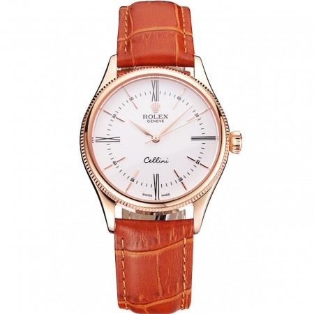 Swiss Rolex Cellini White Dial Roman Numerals Rose Gold Case Light Brown Leather Strap