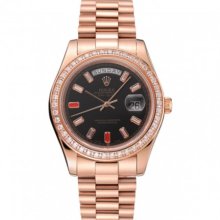 Swiss Rolex Day-Date Diamonds And Rubies Black Dial Rose Gold Bracelet 1454102