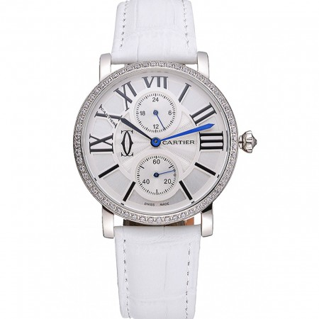 Cartier Ronde Second Time Zone White Dial Stainless Steel Case With Diamonds White Leather Strap 622803