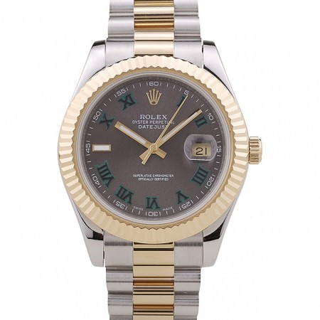 Rolex Datejust Grey Dial Gold Ribbed Bezel 7479