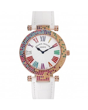 Franck Muller Double Mistery 4 Saisons White Dial Rose Gold Case White Leather Strap