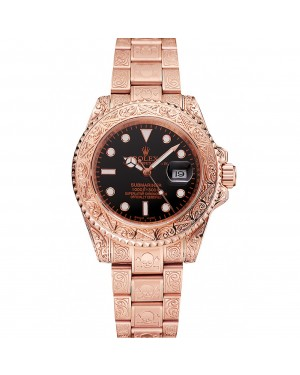 Swiss Rolex Submariner Skull Limited Edition Black Dial Rose Gold Case And Bracelet 1454086