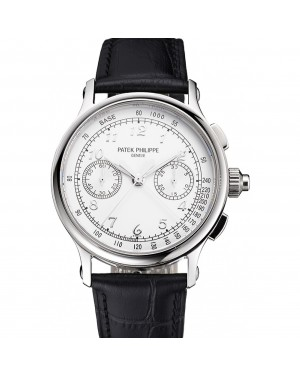 Swiss Patek Philippe Split Seconds Chronograph White Dial Silver Numerals Stainless Steel Case Black Leather Strap
