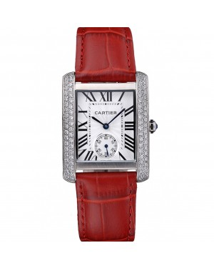 Cartier Tank MC Stainless Steel Diamond Case White Dial Red Leather Strap 622173