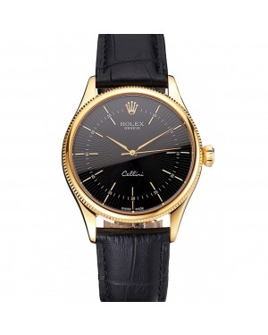 Swiss Rolex Cellini Black Dial Gold Markings Gold Case Black Leather Strap