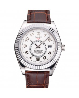 Rolex Sky Dweller White Dial Stainless Steel Case Brown Leather Strap