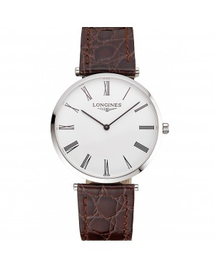 Swiss Longines Grande Classique White Dial Roman Numerals Stainless Steel Case Brown Leather Strap