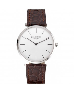 Swiss Longines Grande Classique White Dial Stainless Steel Case Brown Leather Strap