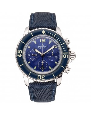 Swiss Blancpain Fifty Fathoms Flyback Chronograph Blue Dial Blue Bezel Stainless Steel Case Blue Canvas Strap
