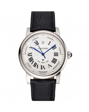Swiss Cartier Rotonde Annual Calendar White Dial Stainless Steel Case Black Leather Strap