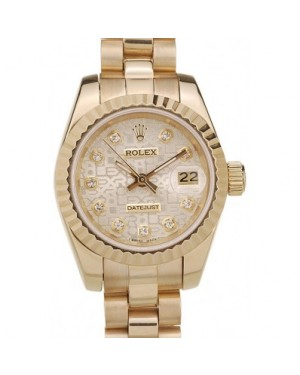 Rolex DateJust Ribbed Pattern Gold Bezel Gold Dial