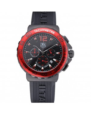 Tag Heuer Formula 1 Chronograph Black Dial Red Bezel Red Numerals 622407