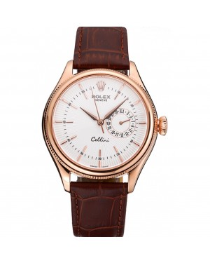 Rolex Cellini White Rose Dial Gold Case Brown Leather Bracelet 622725