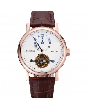 Breguet Classique Complications Rose Gold Case Dark Brown Leather Strap 80154