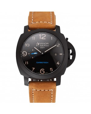 Swiss Panerai Luminor GMT Carbotech Black Dial Black Case Brown Leather Strap