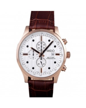 Mido Multifort Brown Croco Leather Strap White Dial 80287