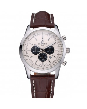 Breitling Transocean Chronograph White Dial Stainless Steel Case Brown Leather Bracelet 622243