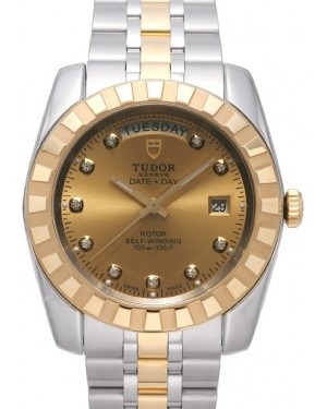AAA Replica Tudor Classic Date Day 41mm Champagne Dial Steel Yellow Gold Strap Watch 23013-1