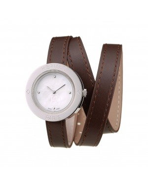 Hermes Classic MOP Dial Brown Elongated Leather Strap