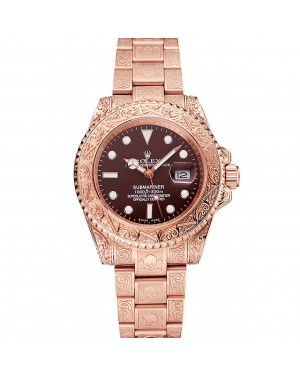 Swiss Rolex Submariner Skull Limited Edition Brown Dial Rose Gold Case And Bracelet 1454087