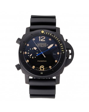 Panerai Luminor Submersible Flyback Date Black Dial Yellow Markings Black Ionized Case Black Rubber Strap