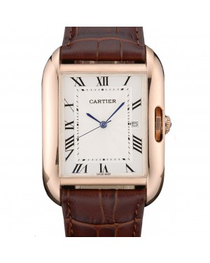 Cartier Tank Anglaise 36mm White Dial Gold Case Brown Leather Bracelet