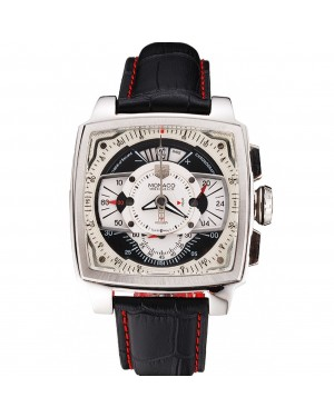 Tag Heuer Monaco Black Perforated Leather Strap White Dial 80306