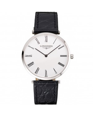 Swiss Longines Grande Classique White Dial Roman Numerals Stainless Steel Case Black Leather Strap