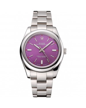 Rolex Oyster Perpetual Red Grape Dial Stainless Steel Case And Bracelet
