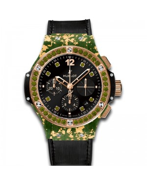 AAA Replica Hublot Big Bang Gold Linen Green Gold Watch 341.XG.1280.NR.1229