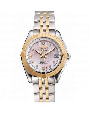 Breitling Colt Lady Pink Dial Diamond Hour Marks Gold Bezel Stainless Steel Case Two Tone Bracelet