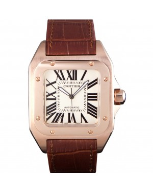 Swiss Cartier Santos Rose Gold with Brown Leather Strap 621522