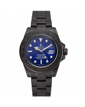 Swiss Rolex Submariner Skull Limited Edition Blue Dial All Black Case And Bracelet 1454084