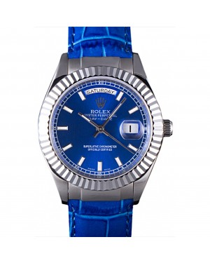 Rolex Day-Date Oyster Collection Blue Leather Band 621490