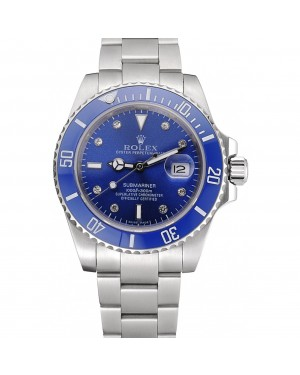 Rolex Submariner Stainless Steel Case Blue Dial Diamond Markers Stainless Steel Bracelet 622638