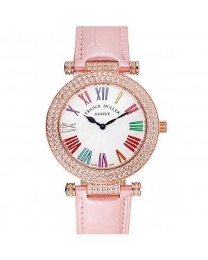 Franck Muller Double Mistery Ronde White Dial Rose Gold Case Light Pink Leather Strap
