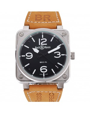 Bell and Ross BR 01-94 Black Dial Silver Case Brown Leather Strap