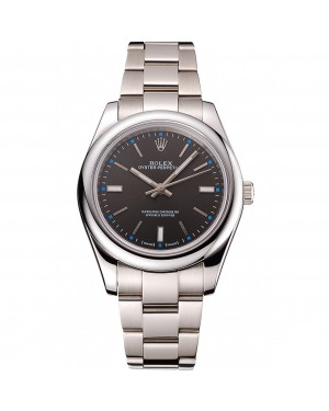 Rolex Oyster Perpetual Dark Rhodium Dial Stainless Steel Case And Bracelet